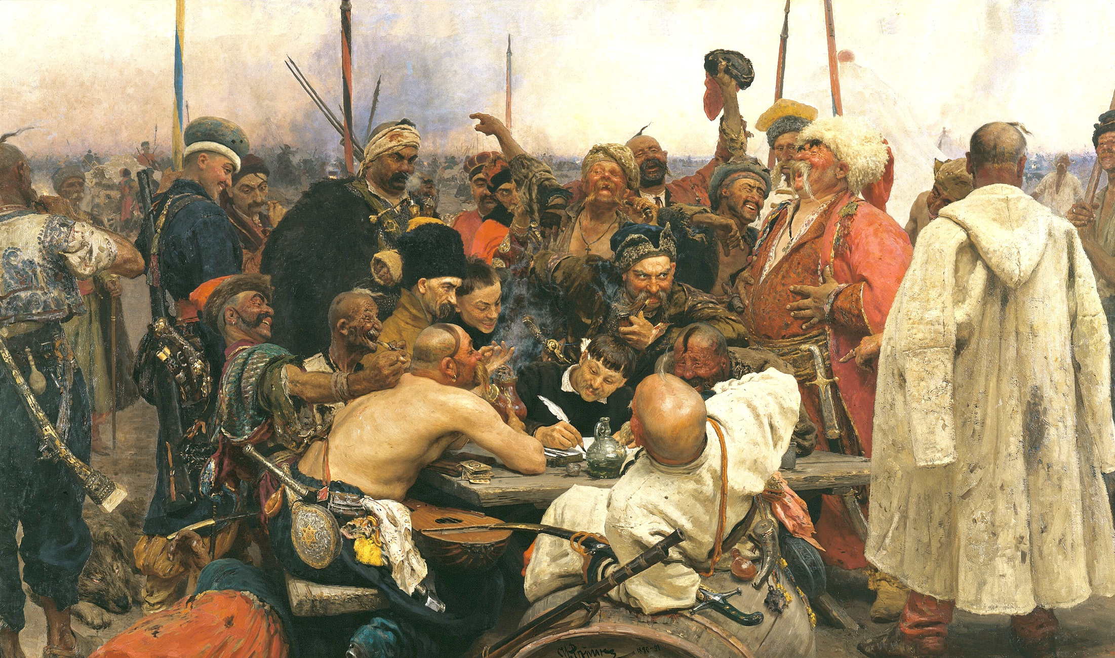 Reply of the Zaporozhian Cossacks to Sultan Mehmed IV of the Ottoman Empire, Repin