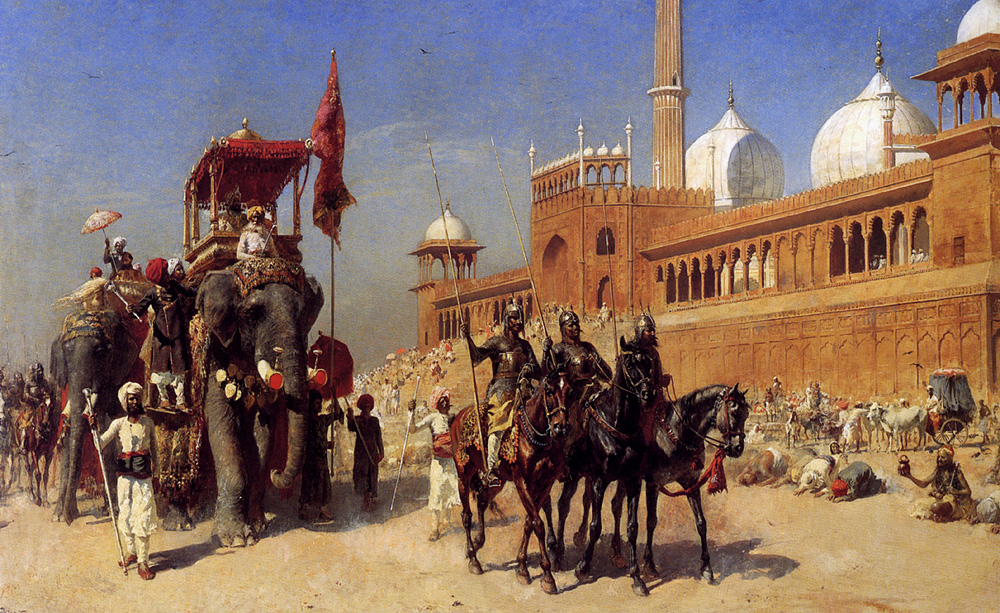great-mogul-and-his-court-returning-from-the-great-mosque-at-delhi-india, 1886, Edwin Lord Weeks