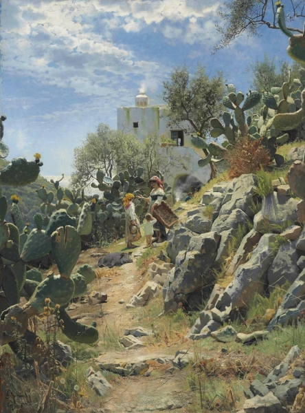 At-Noon-on-a-Cactus-Plantation-in-Capri-Peter_monsted