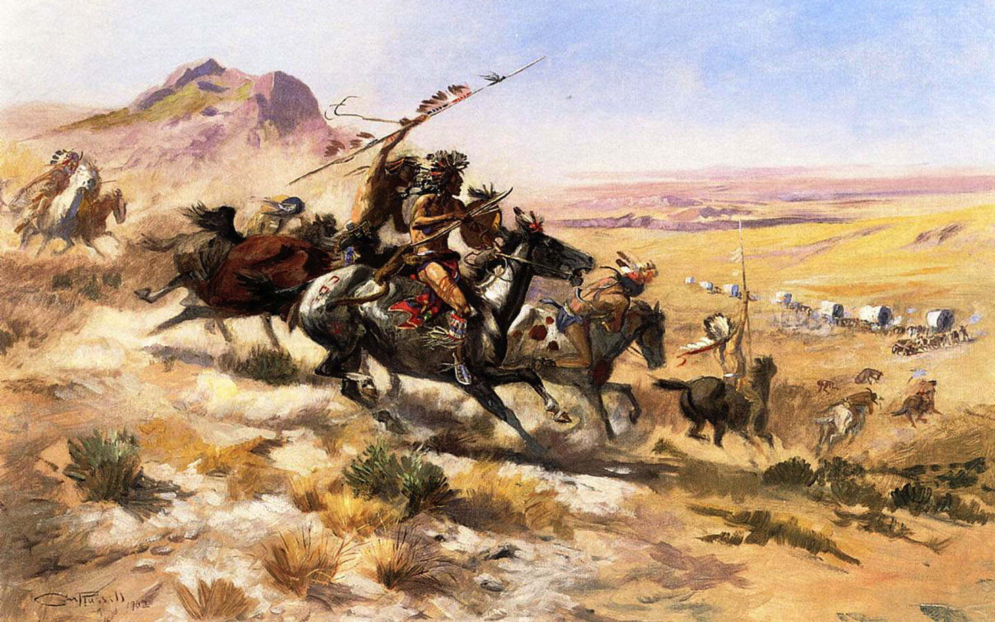 Attack_on_a_Wagon_Train=Russell_Charles_Marion