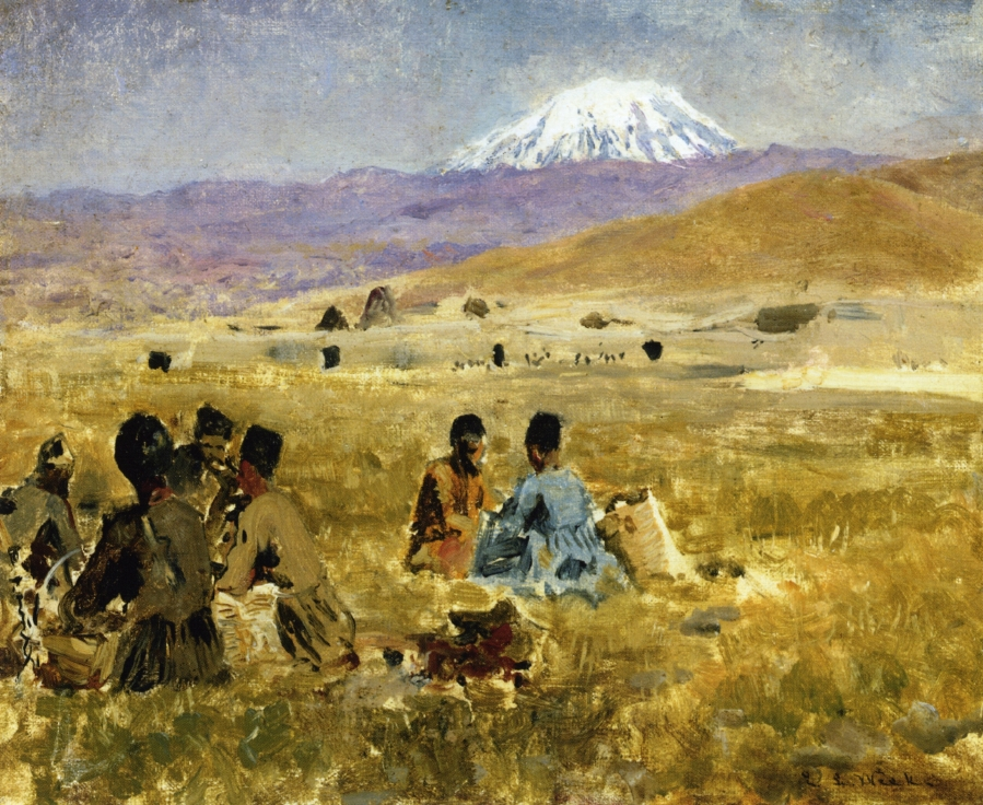 persians-lunching-on-the-grass-mt-ararat-in-the-distance_Edwin_Lord_Weeks