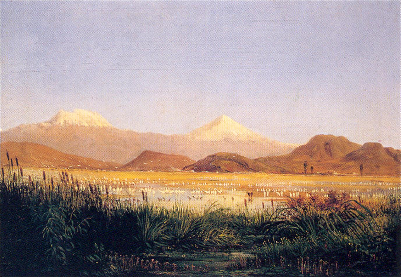 The vulcanoes Iztaccíhuatl and the Popocatépetl as seen from Texcoco,Baptiste Gros