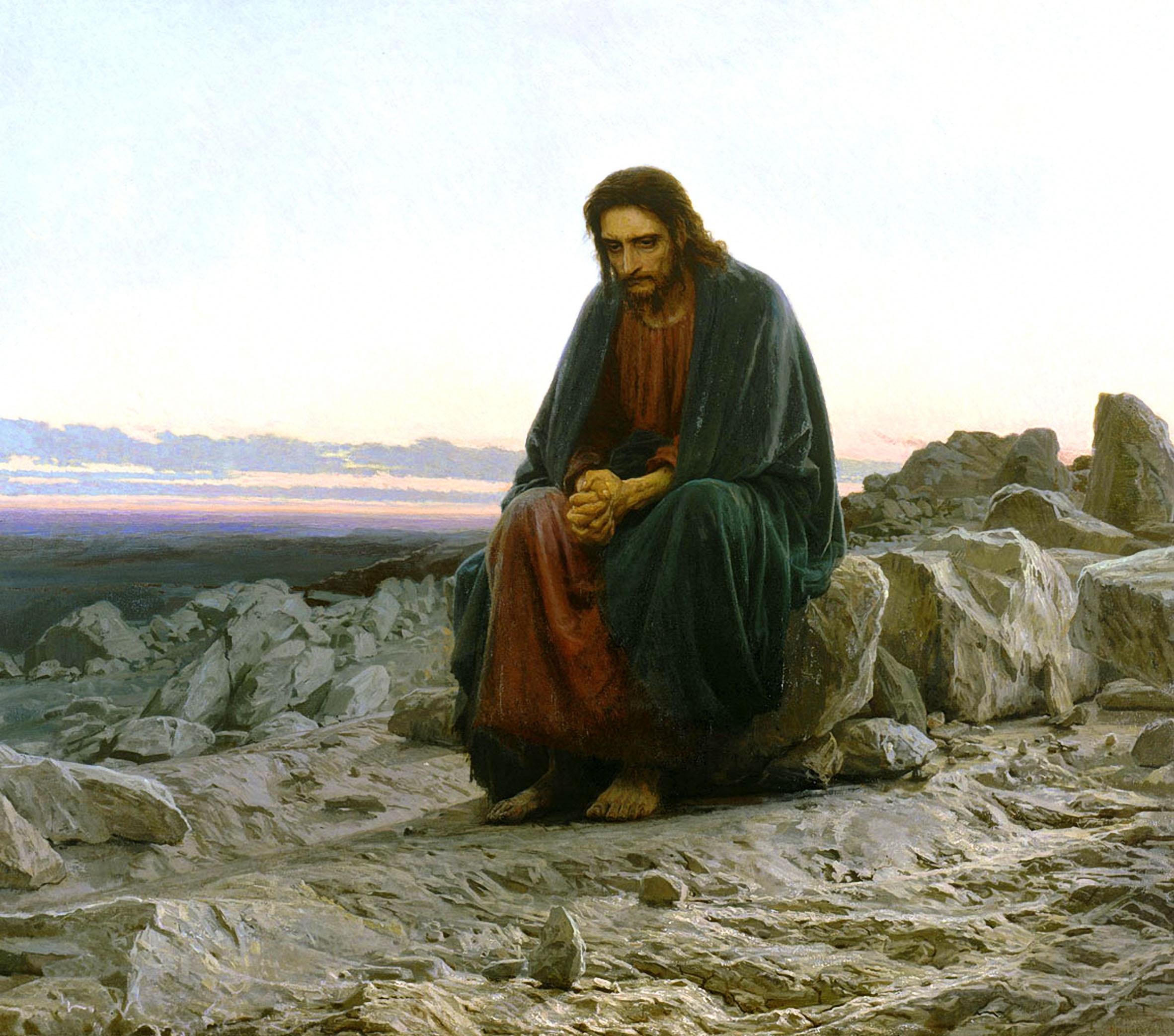 Christ in the desert, 1872, Kramskoi