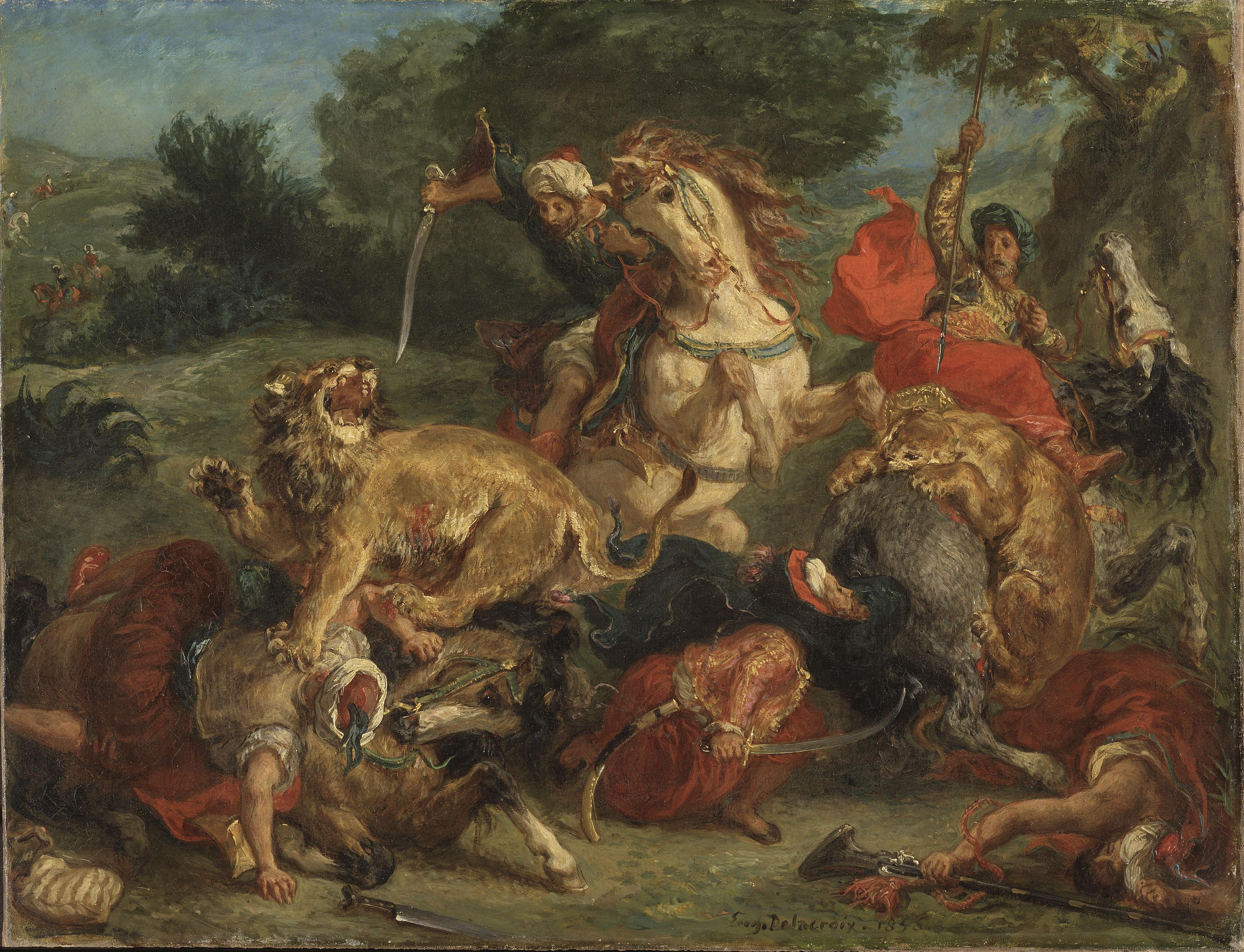 Eugène Delacroix: Lion hunt