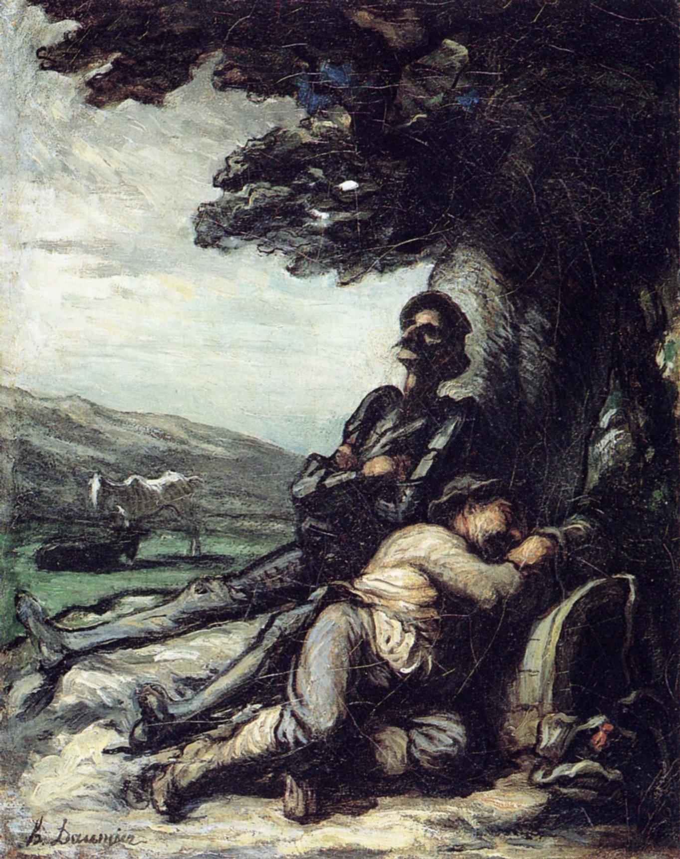 don-quixote-and-sancho-pansa-having-a-rest-under-a-tree_Daumier