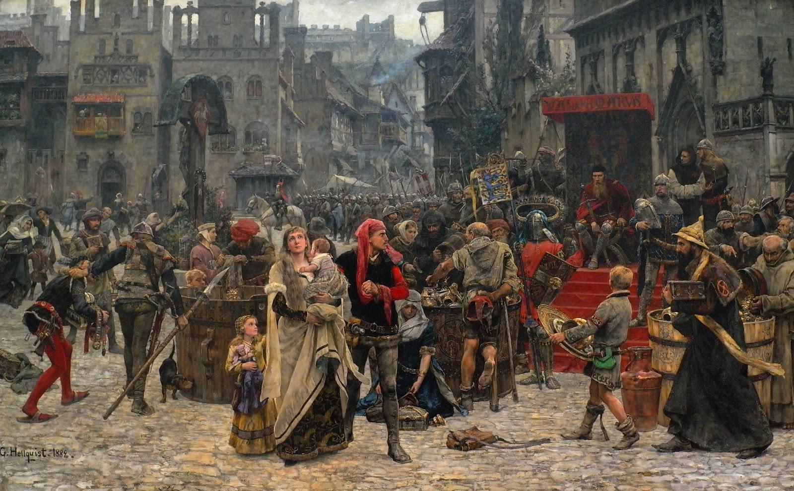 Carl Gustaf Hellqvist--Valdemar Atterdag holding Visby to ransom, 1361.1882