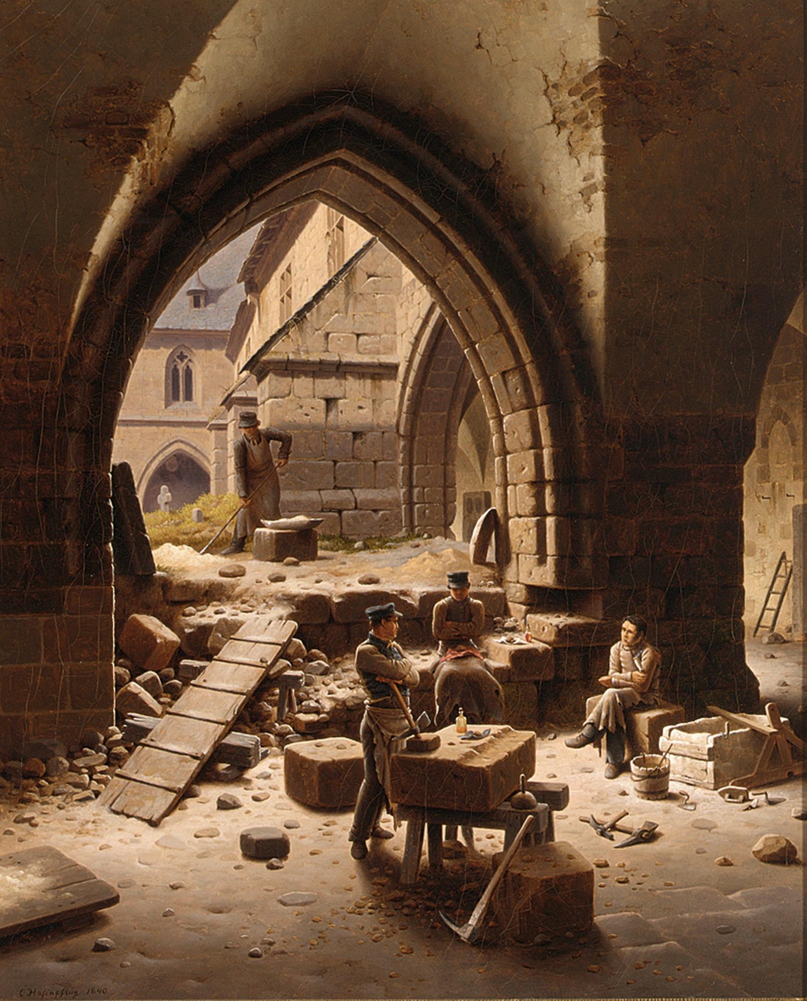 Carl_Georg_Adolph_Hasenpflug_-_Partie_des_Kreuzganges_der_Liebfrauenkirche_Halberstadt