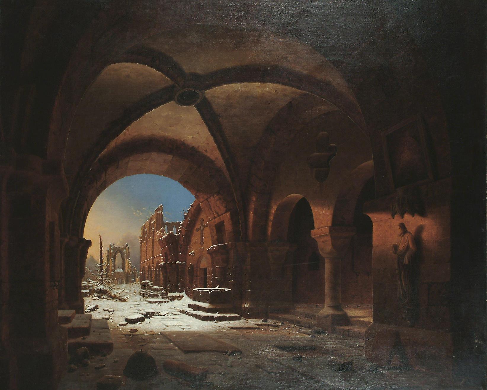 Carl_Georg_Adolph_Hasenpflug_(zugeschr.)_-_Das_Kloster_Walkenried_bei_Sonnenuntergang
