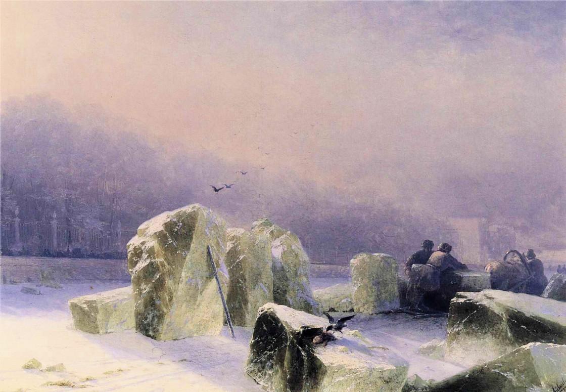 Ivan Constantinovich Aivazovsky - Ice-Breakers on the Frozen Neva in St_ Petersburg