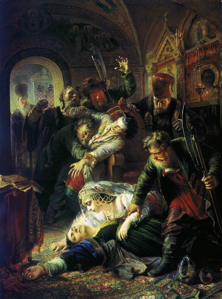 Makovsky_False_Dmitrys_agents_murdering_Feodor_Godunov_and_his_mother_1862