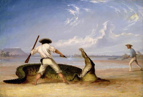 T-Baines-and-C-Humphrey-killing-an-alligator-on-Horse-Shoe-flats-xx-Thomas-Baines