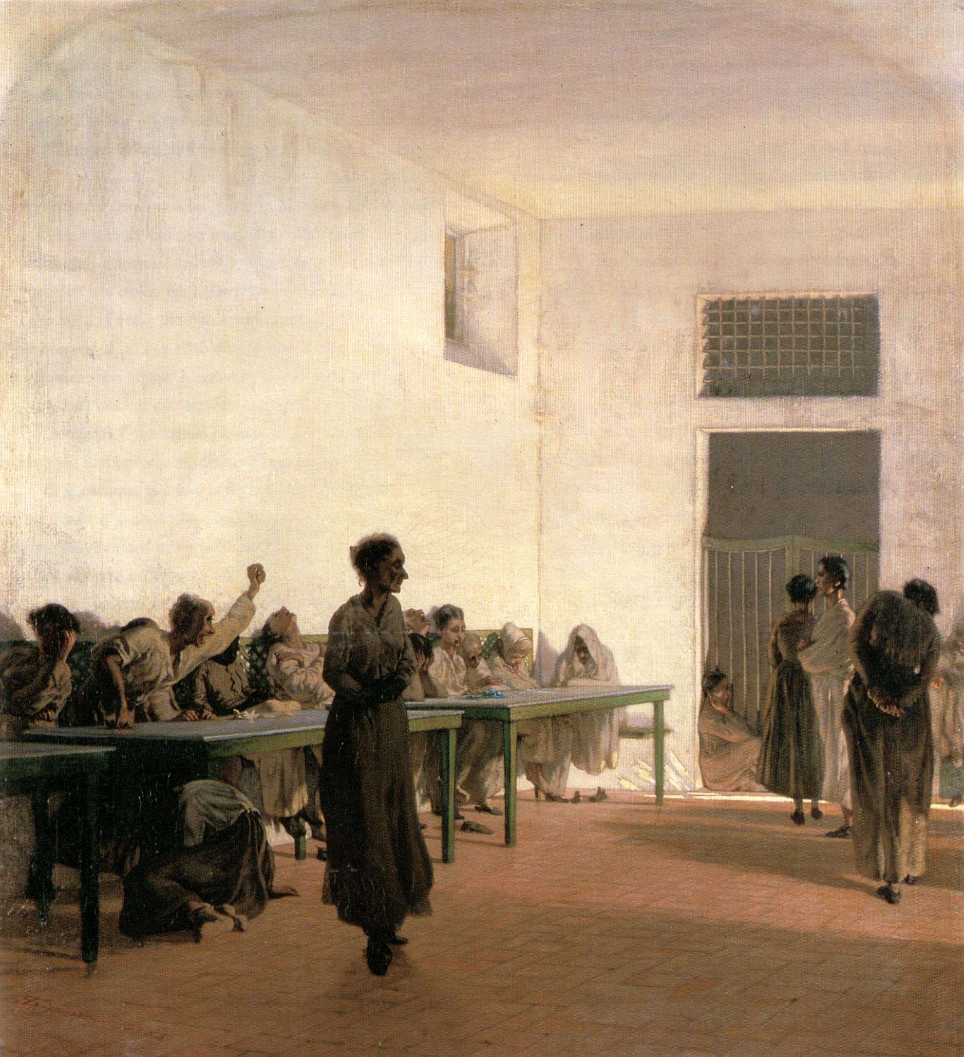 Telemaco_Signorini,_La_sala_delle_agitate_al_San_Bonifazio_in_Firenze,_1865,_66x59cm