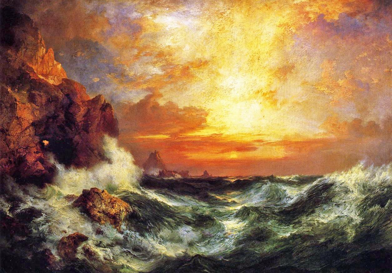 Thomas Moran - Sunset Near Land's End, Cornwall