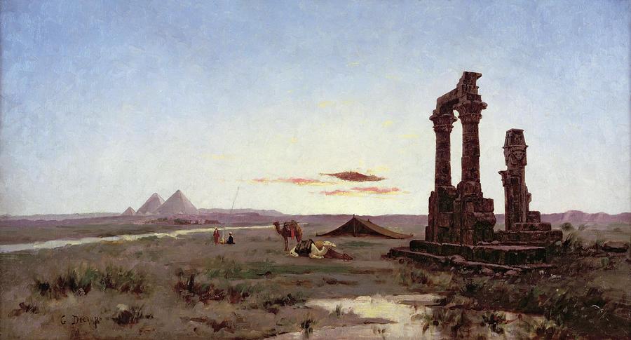 a-bedouin-encampment-by-a-ruined-temple-alexandre-gabriel-decamps
