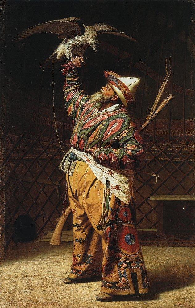 a-rich-kyrgyz-hunter-with-a-falcon-1871_vereschagin