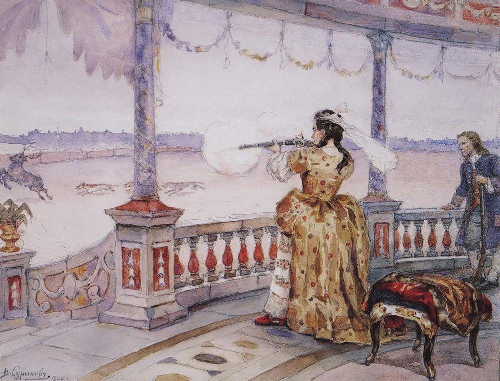 empress-anna-ioannovna-in-peterhof-temple-shoots-deer-1900_surikov