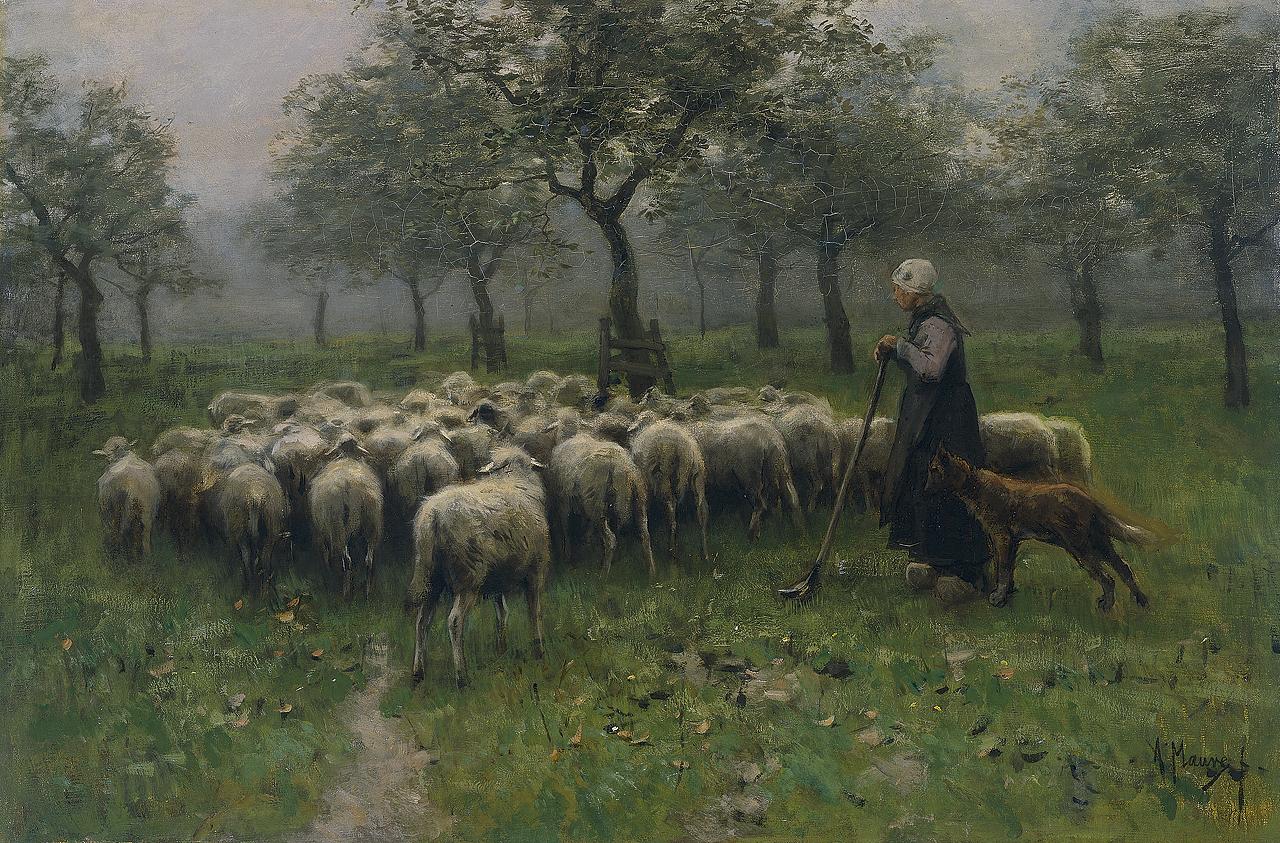 Anton_Mauve_-_Herderin_met_kudde_schapen