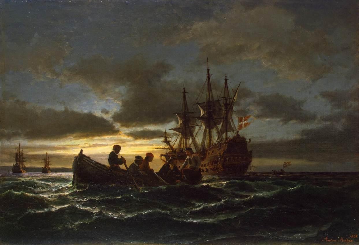 Anton_Melbye-_Sea_at_Night