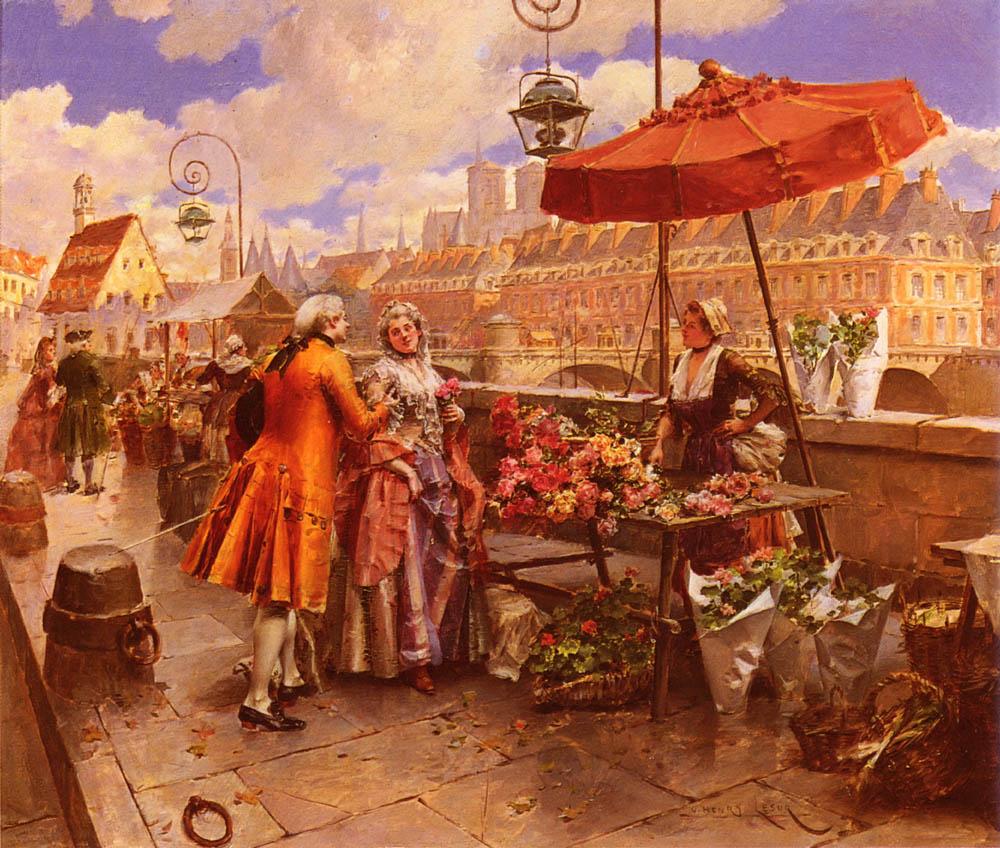 Lesur_Henri_Victor_The_Flowers-Seller_Along_The_Seine