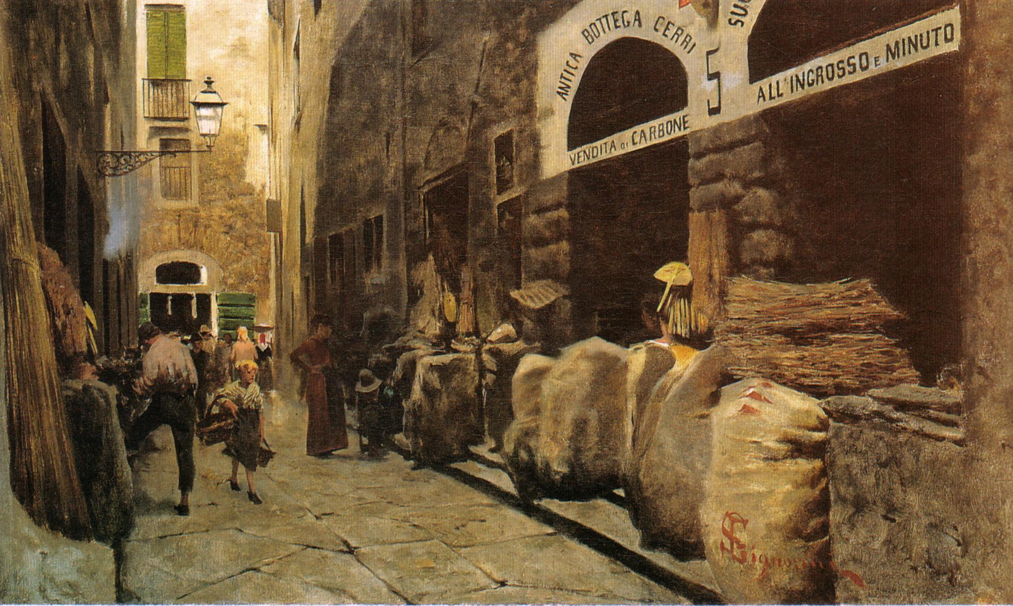 Telemaco_Signorini,_La_Via_del_fuoco,_1881_circa_38,8x65cm