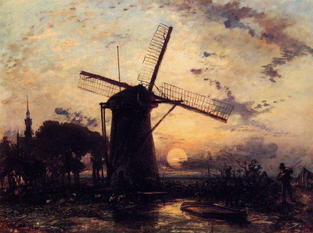 boatman_by_a_windmill_at_sundown