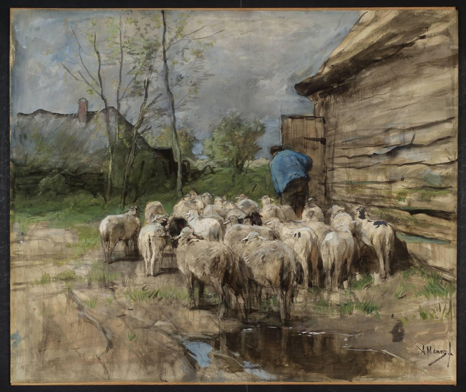 Entering the Fold circa 1885-8 by Anton Mauve 1838-1888