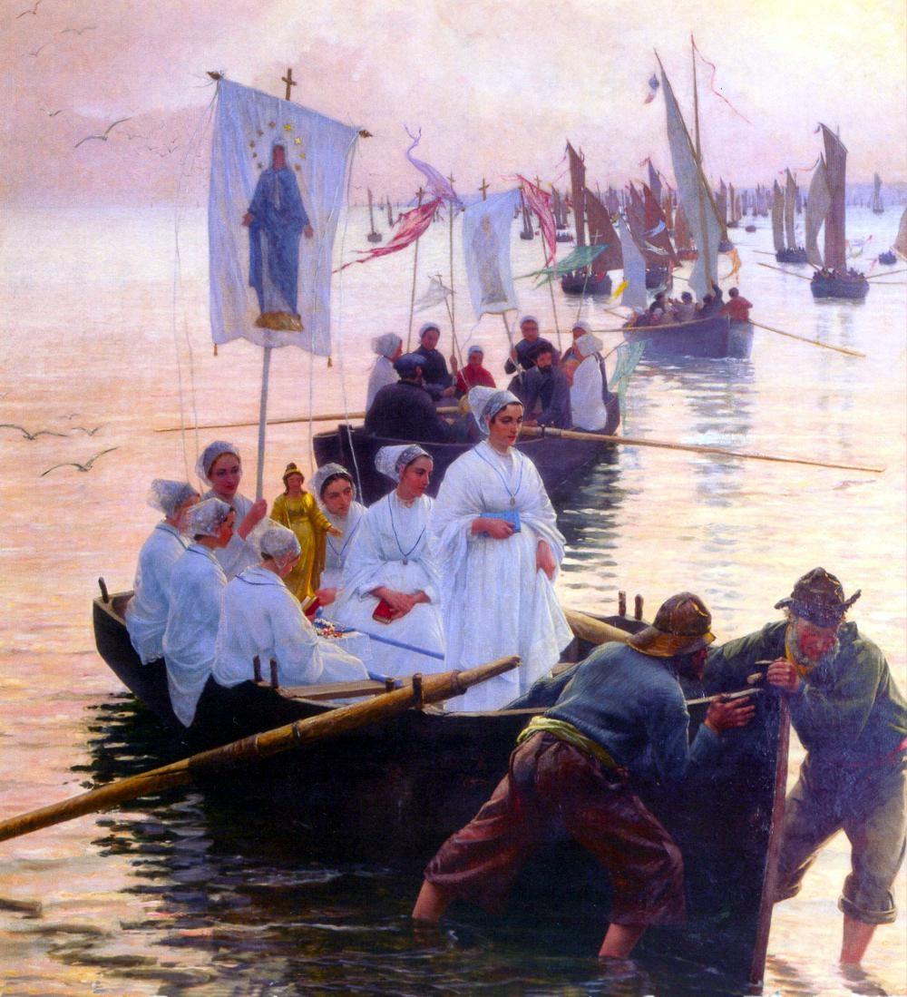 guillouArrivée du pardon de sainte Anne de Fouesnant à Concarneau - 1887