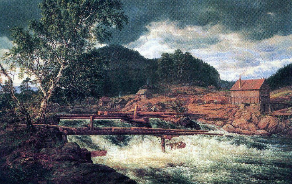 Hellefossen par Johan-Christian DAHL 1788/1857