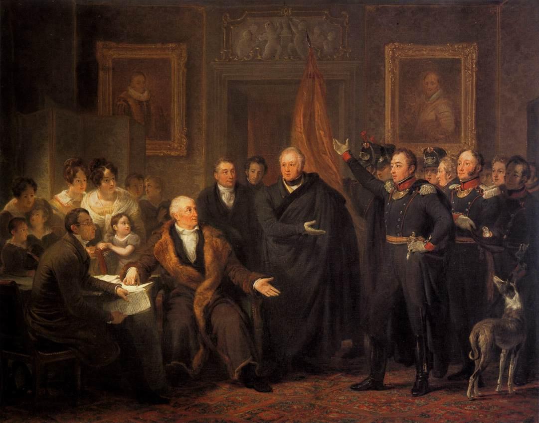 Jan_Willem_Pieneman_-_The_Triumvirate_Assuming_Power_on_behalf_of_the_Prince_of_Orange,_21_November_1813_-_WGA17442